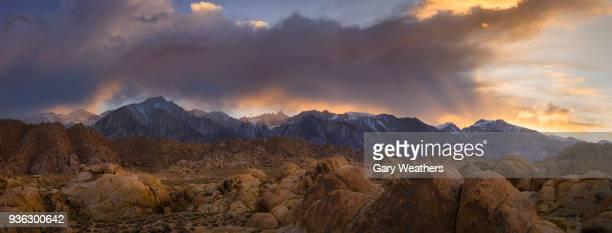 usa, california, alabama hills, snowcapped mountains at sunset - alabama hills stock photos and pictures
