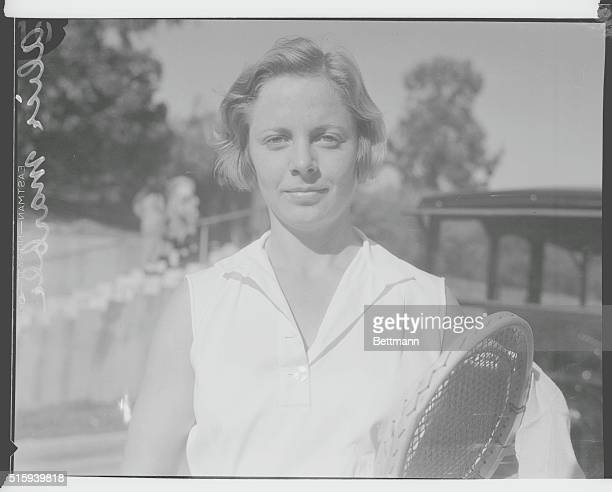 Alice Marble pausing for a photo during tennis tournament in Pasadena