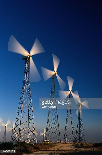 USA, California, Altamont, rows of wind turbines