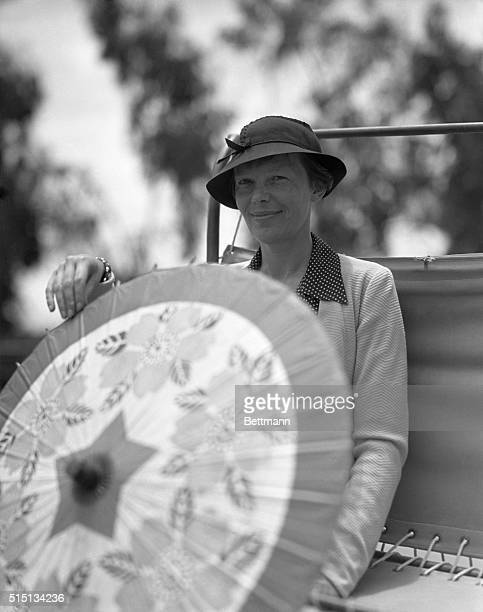 California: Amelia Earhart Visits San Diego Fair. Amelia Earhart, noted aviatrix, pictured as she visited the California Pacific International...