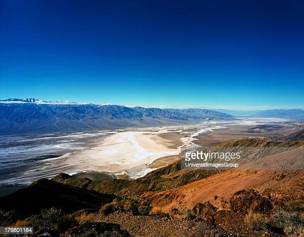 California and Nevada Death Valley National Park Dantes View in the Black Mountains provides a Panoramic view of Death Valleys Badwater Basin and the...