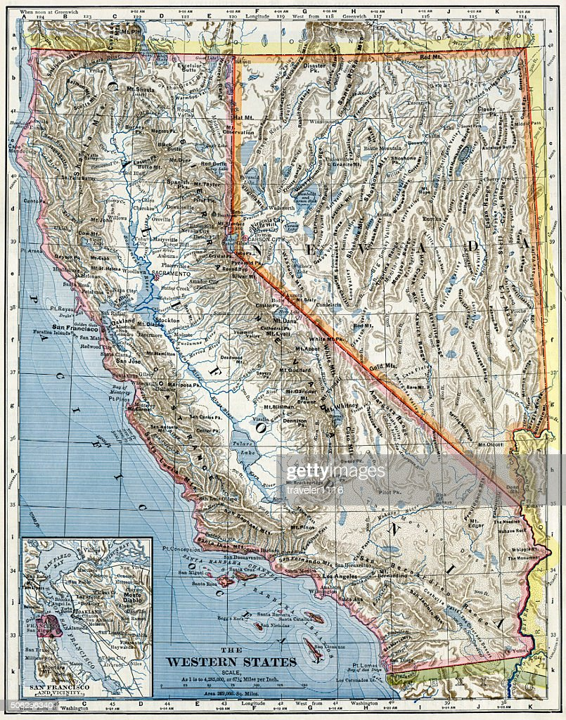 California And Nevada Map 1883 High-Res Stock Photo - Getty ...