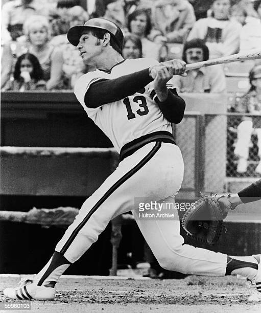 California Angels batter Bobby Valentine makes a hit 1970s