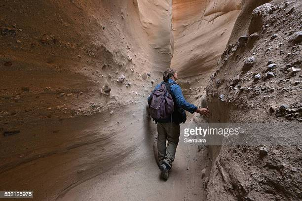 usa, california, anza-borrego desert state park, hiker walking through palm canyon slot canyon - スロット渓谷 ストックフォトと画像