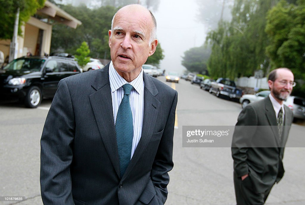 Democratic Candidate For Governor Jerry Brown Casts His Vote In Primary