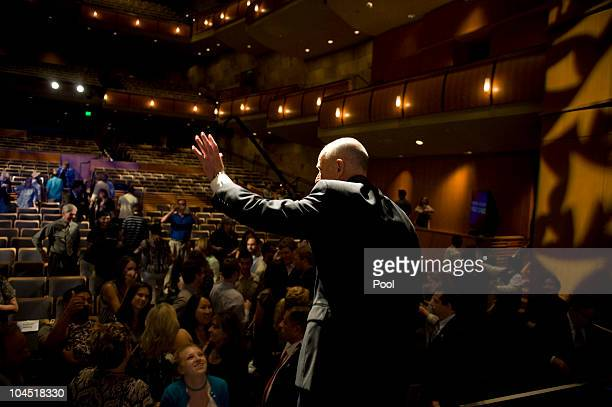 California attorney general and Democratic gubernatorial candidate Jerry Brown waves as he leaves the stage following a debate with Republican...