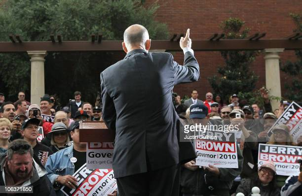 California Attorney General and Democratic gubernatorial candidate Jerry Brown speaks during a rally at Victory Park October 30 2010 in Stockton...