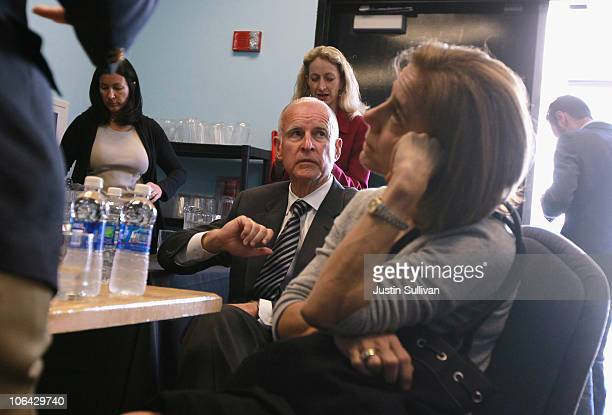 California attorney General and democratic gubernatorial candidate Jerry Brown sits backstage before appearing at a getoutthevote rally at the...