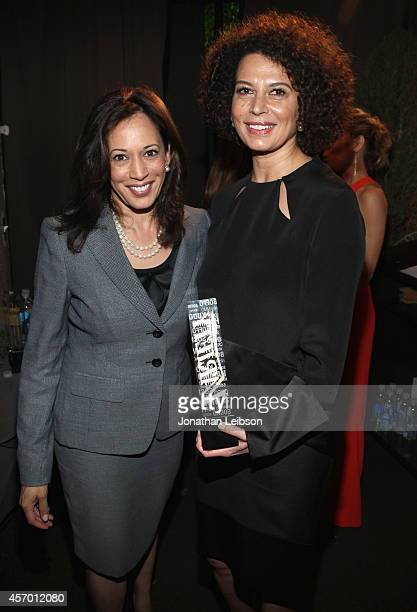 California Attorney General Kamala Harris and honoree Donna Langley attend the 2014 Variety Power of Women presented by Lifetime at Beverly Wilshire...