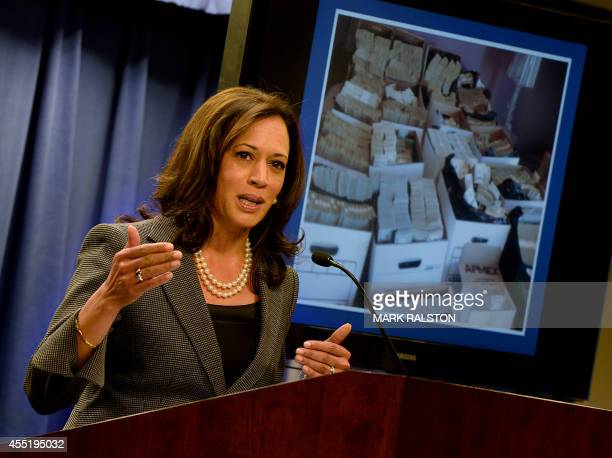 California Attorney General Kamala Harris briefs the media after raids were conducted on moneylaundering operations in the Fashion District of Los...