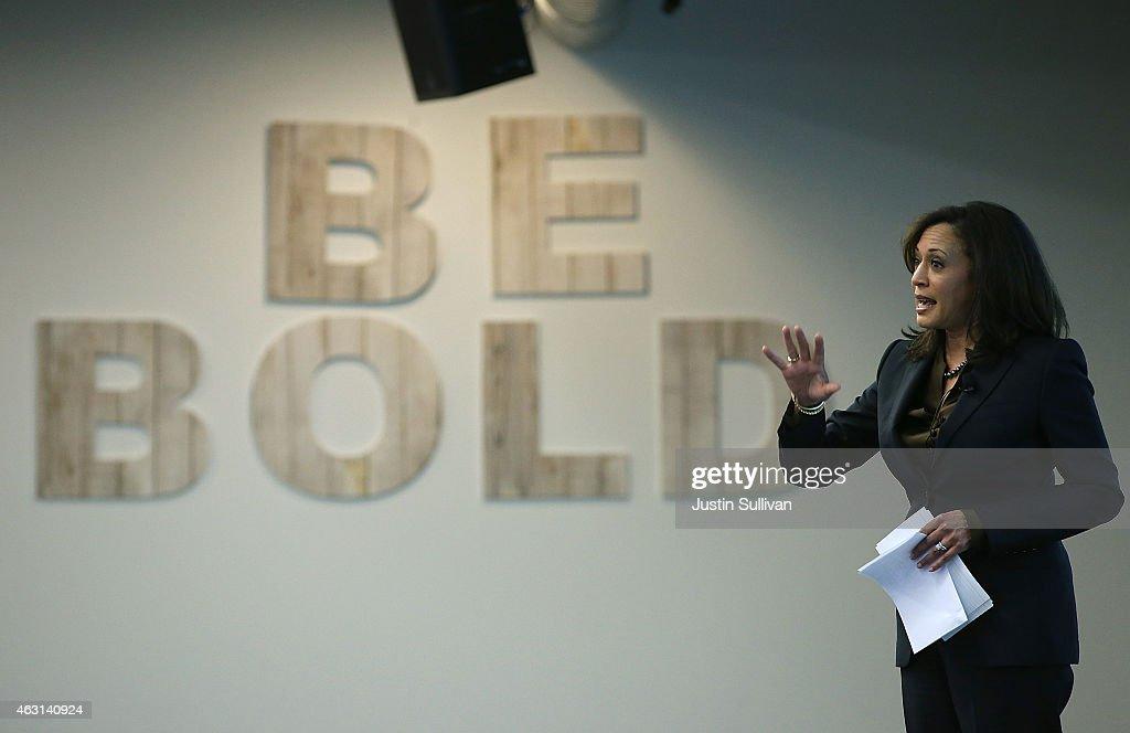 California DA Kamala Harris Speaks At Facebook HQ On Safer Internet Day : News Photo