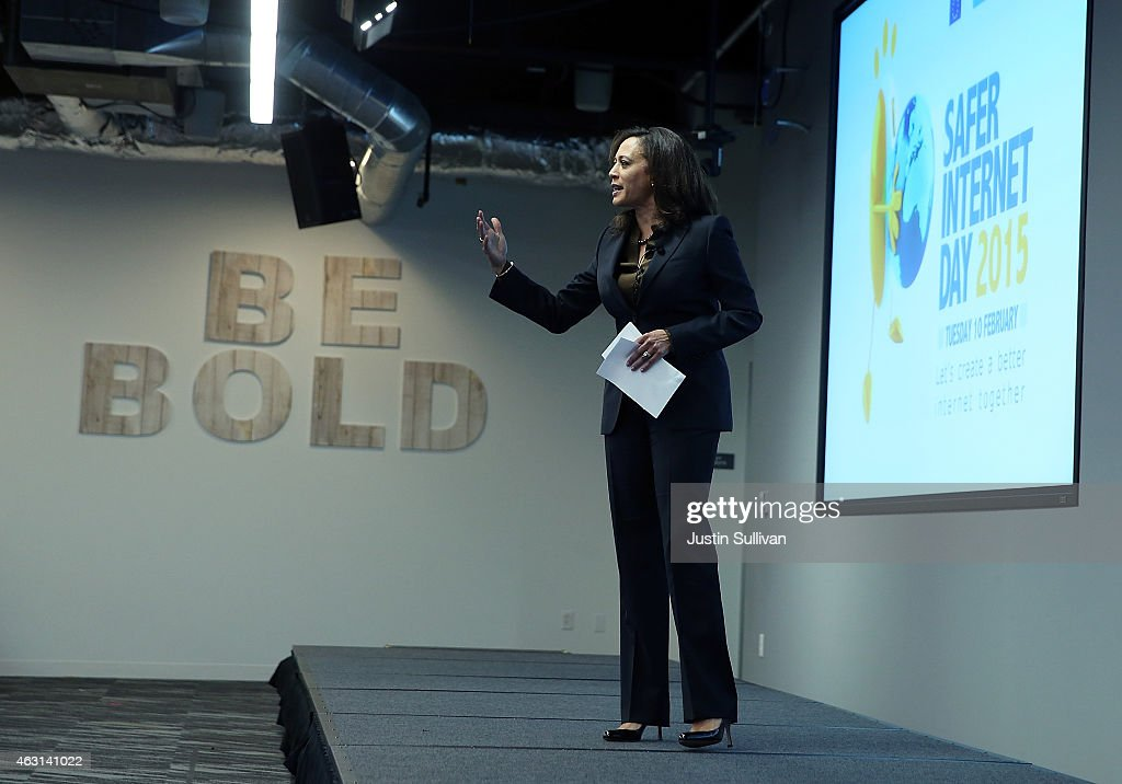 California Attorney General Kamala Harris speaks during a Safer Internet Day event at Facebook headquarters on February 10, 2015 in Menlo Park, California. Harris delivered the keynote address at the event, designed to promote safe, effective use of the internet and mobile technology. Safer Internet Day is celebrated annually in more than 100 countries on the the second Tuesday in February.