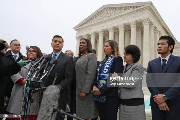 California Attorney General Xavier Becerra and New York State Attorney General Letitia James join plaintiffs Eliana Fernandez and Jirayut...