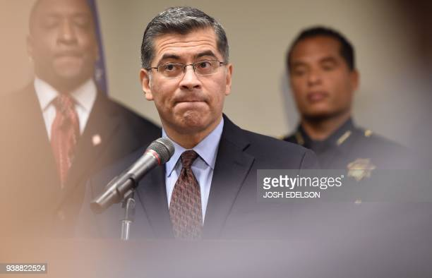 California Attorney General Xavier Becerra speaks to members of the media about the investigation of the shooting death of Stephon Clark in...