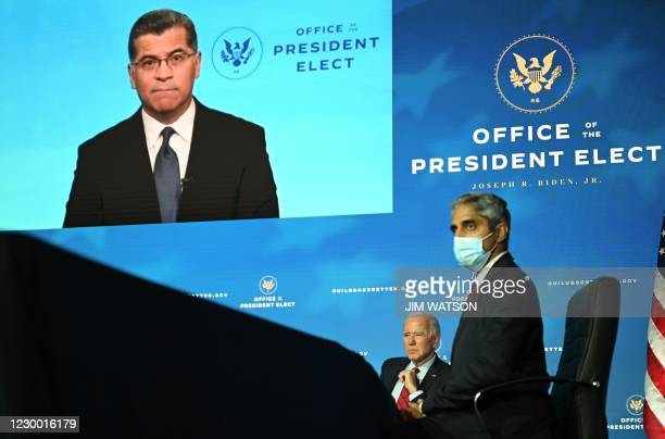 California Attorney General Xavier Becerra, who has been nominated by Biden to serve as secretary of Health and Human Services, speaks as...
