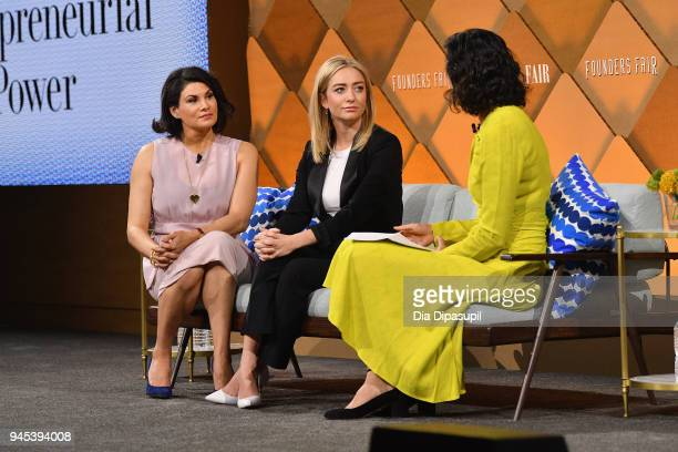 California Baby founder and CEO Jessica Iclisoy, Bumble founder and CEO Whitney Wolfe Herd, and Vanity Fair Editor Radhika Jones speak onstage during...