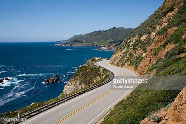 USA, California, Big Sur, Route 1 and coastline, elevated view