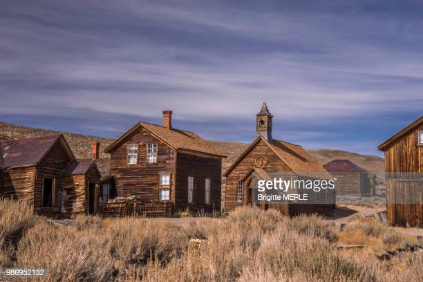 usa, california, bodie, ghost town 19 th century, methodist church - methodist church stockfoto's en -beelden