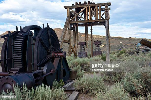 California Bodie State Historic Park Gold Mining Ghost Town Head Frame and Machinery