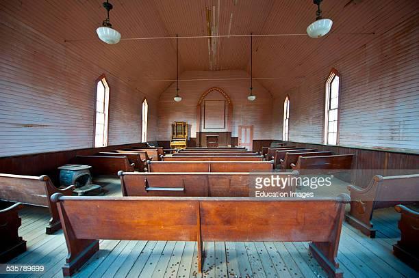 California Bodie State Historic Park Gold Mining Ghost Town Methodist Church interior