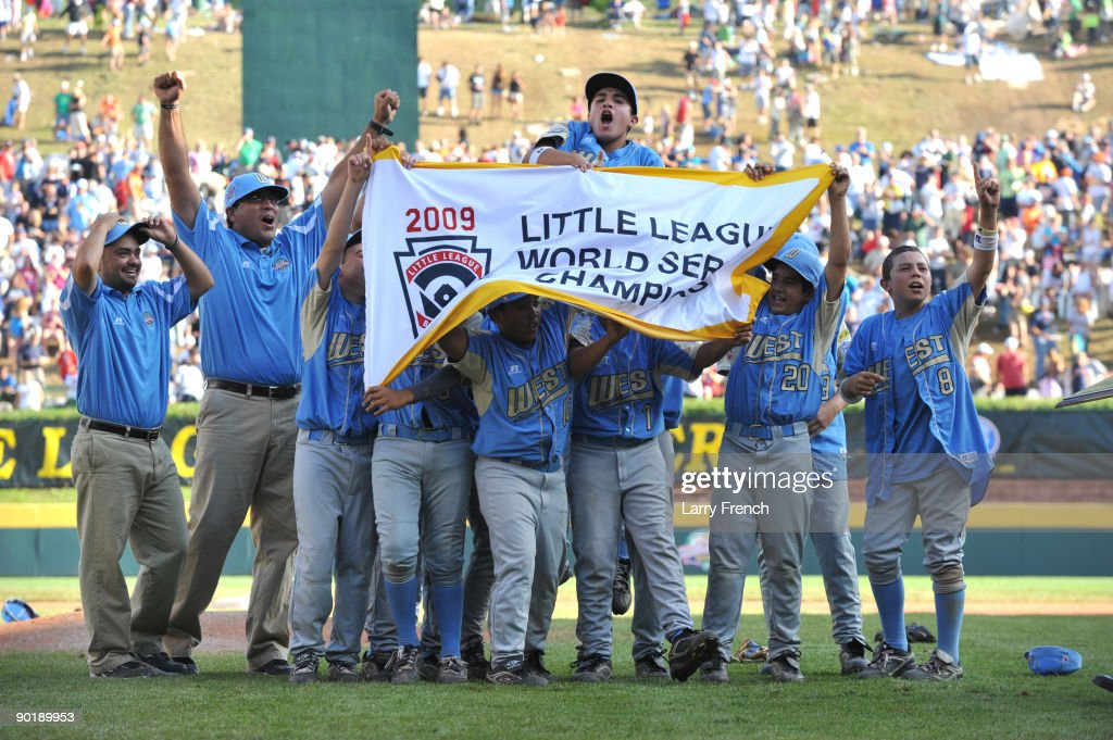 California (Chula Vista) celebrate their victory against Asia Pacific (Taoyuan, Taiwan) in the little league world series final at Lamade Stadium on August 30, 2009 in Williamsport, Pennsylvania.