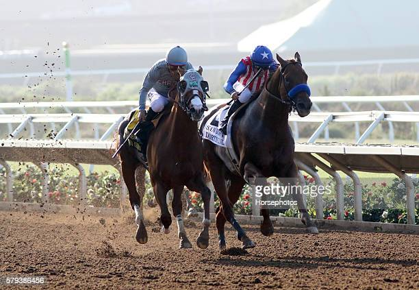 California Chrome with Victor Espinoza aboard wins the G2 San Diego Handicap over Dortmund on July 23 2016 at Del Mar Race Track Del Mar CA
