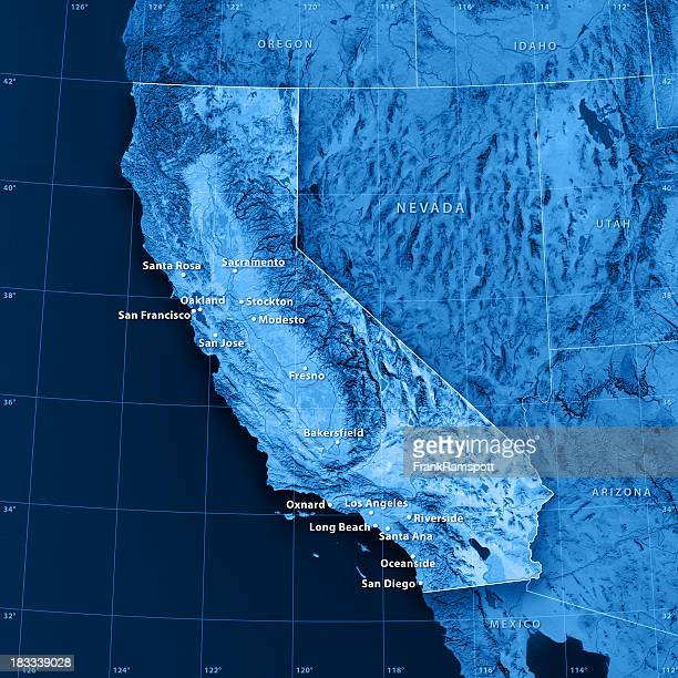 California Cities Topographic Map