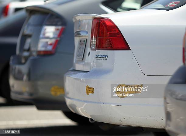 California 'clean air vehicle' sticker is seen on the rear bumper of a hybrid Honda Civic on May 6 2011 in San Rafael California The California DMV...