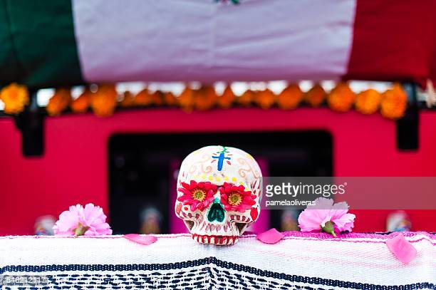 USA, California, Close up of Dia de Muertos decorated skull