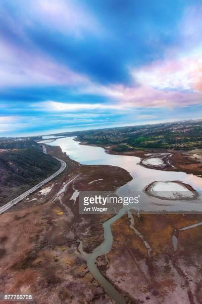 california coastal lagoon aerial - carlsbad california stock pictures, royalty-free photos & images