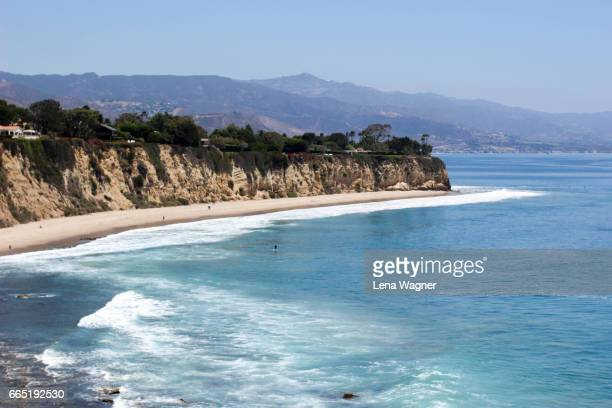 california coastline cliff and bay - malibu stock pictures, royalty-free photos & images