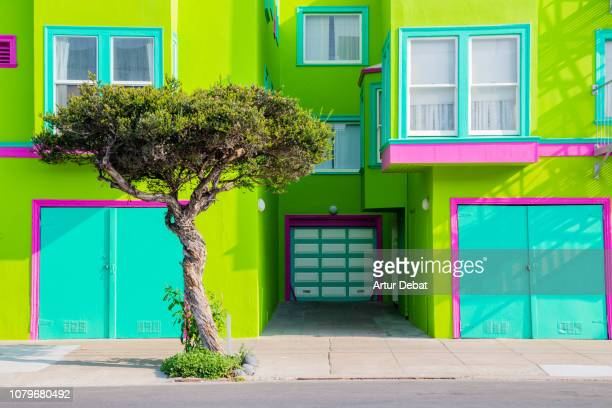 california colorful house with street. - multi coloured stock pictures, royalty-free photos & images
