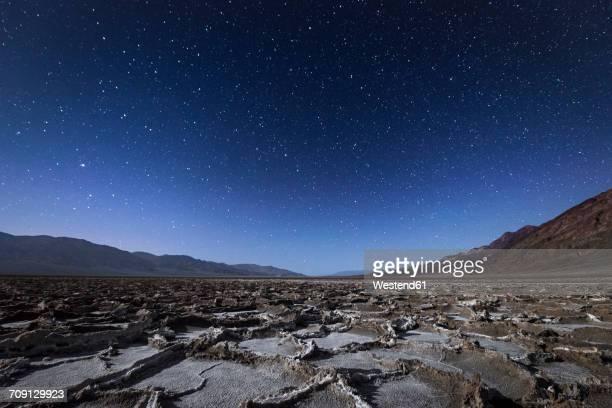 USA, California, Death Valley, Badwater Basin at night