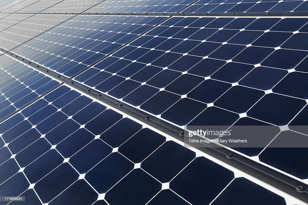 USA, California, Death Valley, Solar panels on desert : Stock Photo