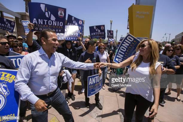 California Democratic gubernatorial candidate Antonio Villaraigosa dances at Mariachi Plaza in his childhood neighborhood of Boyle Heights as he...