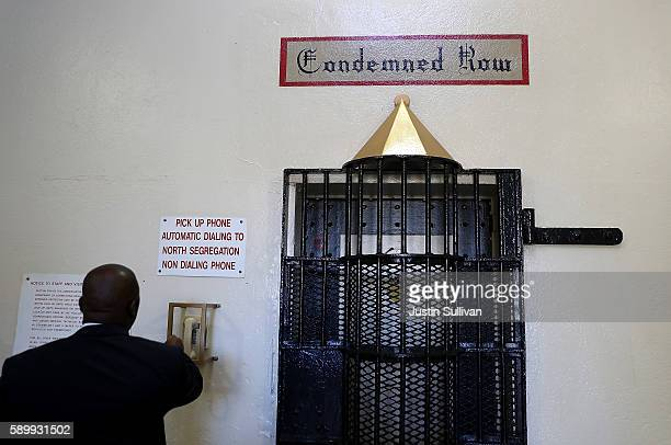 California Department of Corrections and Rehabilitation Lt Sam Robinson calls to open the door at San Quentin State Prison's death row on August 15...