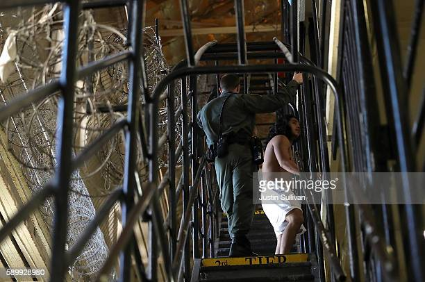 California Department of Corrections and Rehabilitation officer stands guard on death row at San Quentin State Prison on August 15 2016 in San...