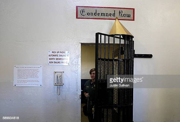 California Department of Corrections and Rehabilitation officer opens the door to San Quentin State Prison's death row on August 15 2016 in San...