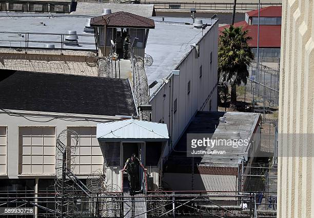 California Department of Corrections and Rehabilitation officers stand guard at San Quentin State Prison's death row on August 15 2016 in San Quentin...