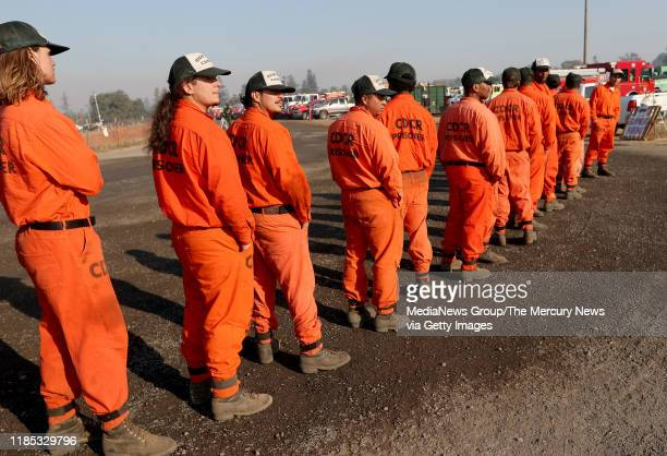 OCTOBER 29 California Department of Corrections inmates from Weott in Humboldt County line up as they await their deployment at the Kincade Fire...