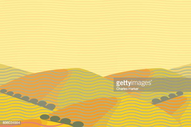 California Dry Hills Landscape Illustration