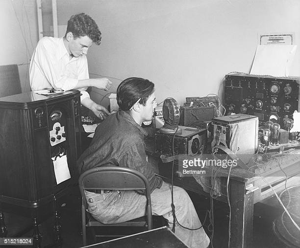 California earthquake Tom Morrissey and Al Freeman amateur radio operators who sent messages during the quake are shown working with their radio...