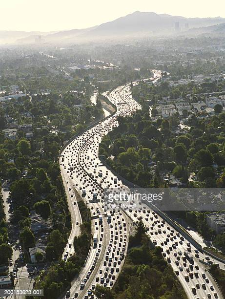 USA, California, Encino, aerial view of 101 Freeway