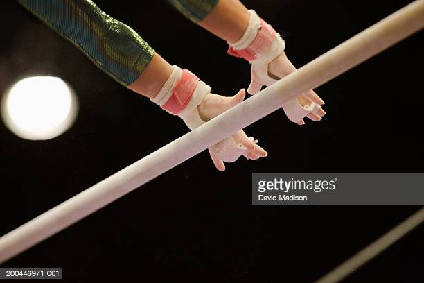 usa, california, female gymnast on uneven bars, close-up - horizontal bars stock pictures, royalty-free photos & images