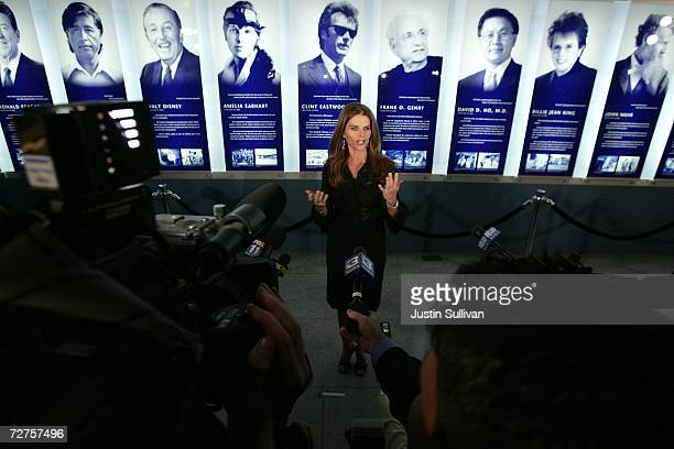 California first lady Maria Shriver speaks to members of the media before the induction of the first ever California Hall of Fame December 6 2006 in...