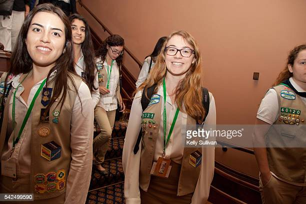 California Girl Scout Gold Award recipients Daniela Castro and Sarah Gillespie of Girl Scouts of Greater Los Angeles walk the halls of the State...