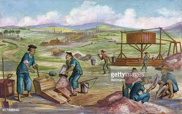 California gold miners Chinese immigrants panning for gold Wash drawing mid 19th Century