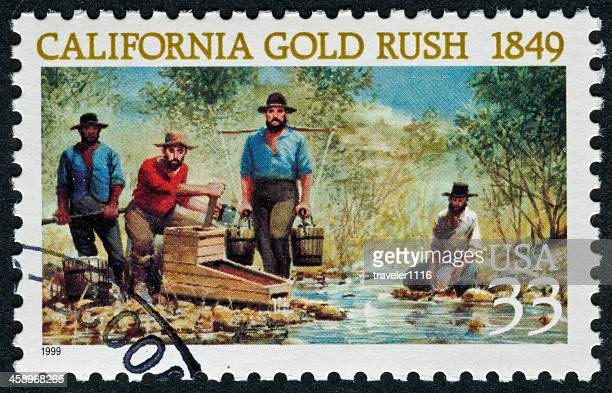 california gold rush stamp - california gold rush stock photos and pictures