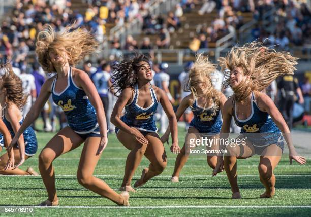 California Golden Bears cheerleaders getting into a play break routine during the regular season game between the Weber State Wildcats verses the...