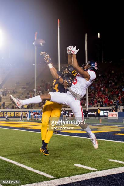 California Golden Bears cornerback Camryn Bynum breaks up a pass to Mississippi Rebels defensive back Ken Webster during the game between the Ole...